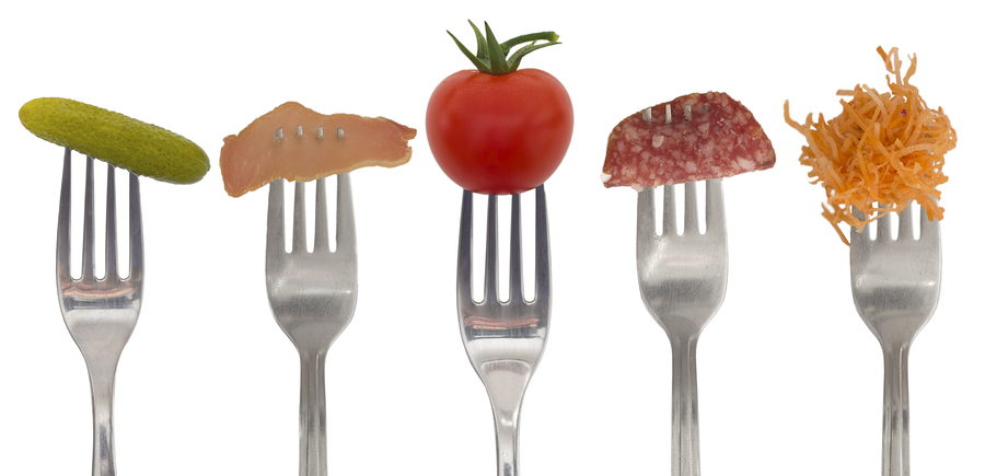collection of forks with vegetables and ham
